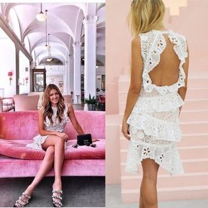 Alexis White Floral Lace Ruffled Dress